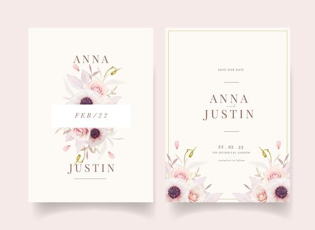 Bloemenhuwelijksuitnodiging met waterverf roze rozen en anemonenbloem