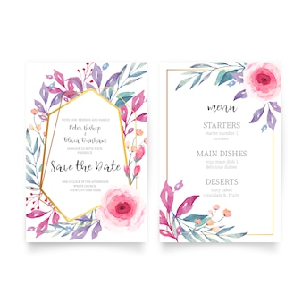Bloemenhuwelijksuitnodiging met waterverfaard