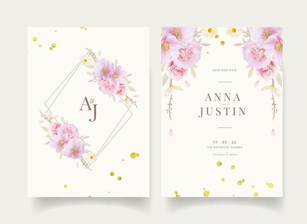 Bloemenhuwelijksuitnodiging met waterverfrozen en anemonenbloem