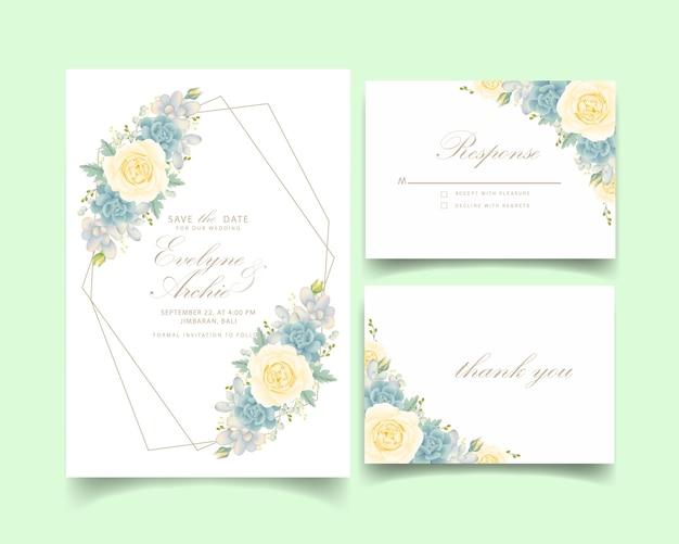 Bloemenhuwelijksuitnodiging met witte roos en succulent