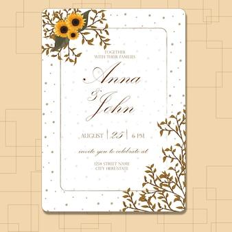 Bloemenhuwelijksuitnodiging met zonnebloem en bladeren