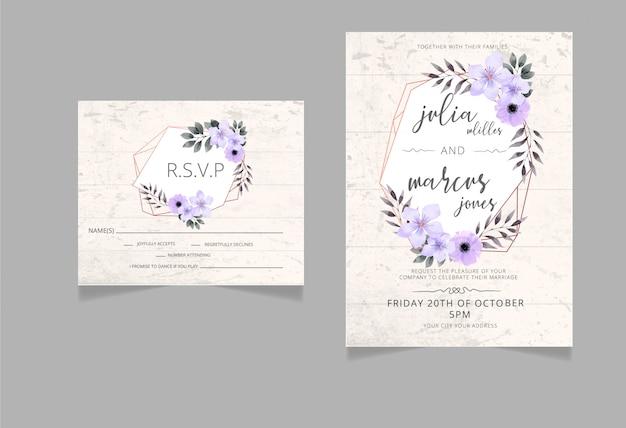 Bloemenhuwelijksuitnodiging, rsvp-kaart