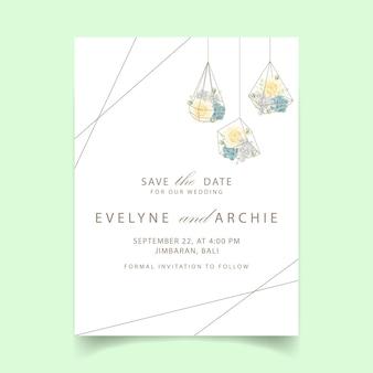 Bloemenhuwelijksuitnodiging