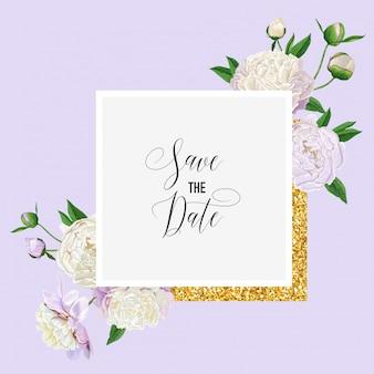 Bloemenhuwelijksuitnodigingskaart met pioenbloemen