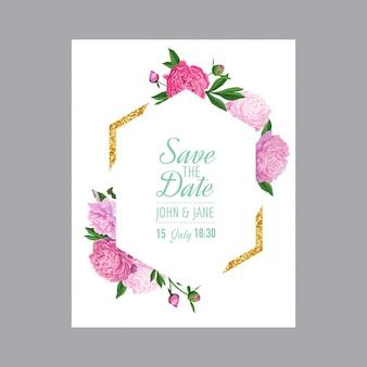 Bloemenhuwelijksuitnodigingskaart met roze pioenrozen