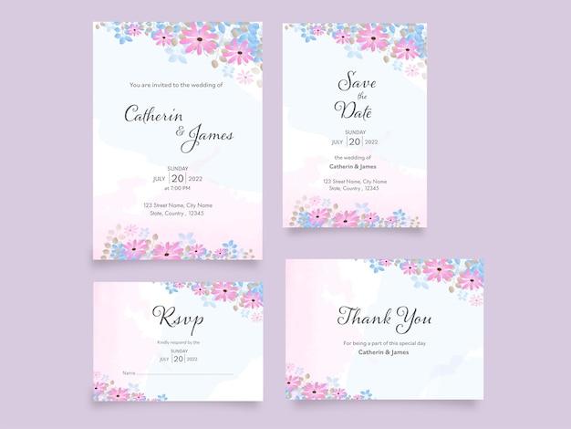Bloemenhuwelijksuitnodigingssuite zoals save the date, rsvp en bedankkaartillustratie.