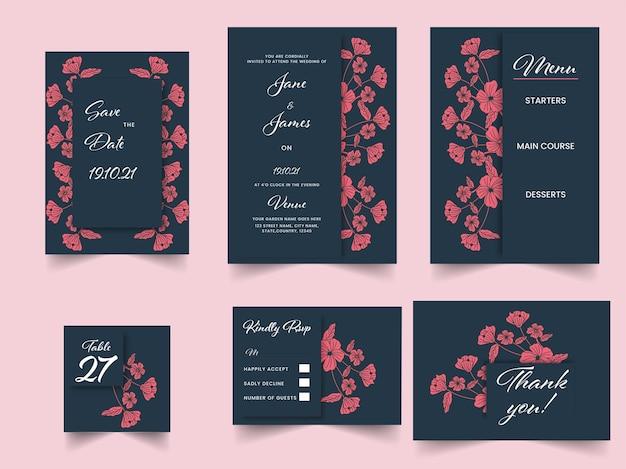Bloemenhuwelijksuitnodigingsuite in donkerblauwe en rode kleur.