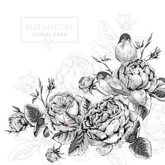 Bloemenkaart in uitstekende stijl met bloeiende engelse rozen en vogels