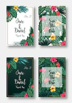 Bloemenkaart instellen uitnodiging bruiloft, sparen de datum en frame