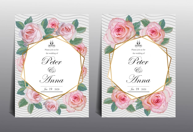 Bloemenkaart voor uitnodigingshuwelijk en groetkaarten