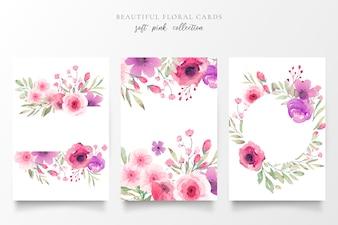 Bloemenkaartinzameling met waterverfbloemen