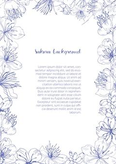Bloemenkader bestond uit prachtige bloeiende bloemen en knoppen van japanse sakura hand getekend met contourlijnen en plaats voor tekst in het midden.