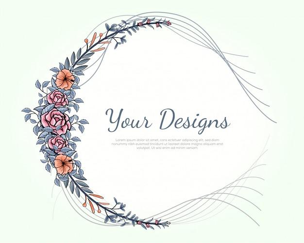 Bloemenkader kunststijl, bloemenkaders met prachtige lijntekeningen