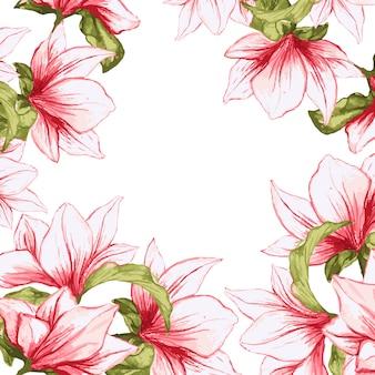Bloemenkader met de geschilderde achtergrond van magnolia tot bloei komende bloemen