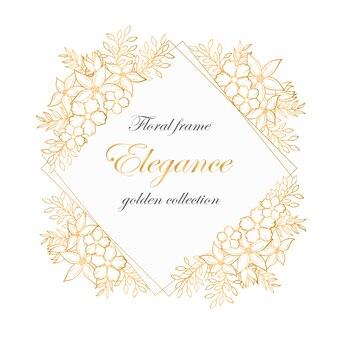 Bloemenkader met gouden bloemenboeketten