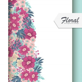 Bloemenkader met kleurrijke bloemachtergrond