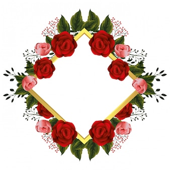 Bloemenkader met rode rozen
