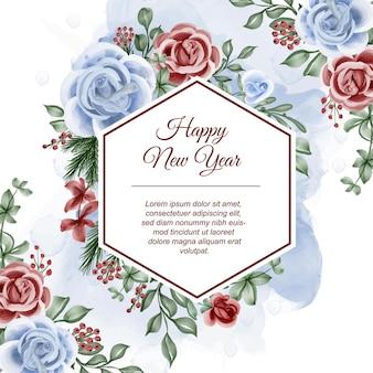 Bloemenkader met roze rood blauw thema winter nieuwjaar achtergrond
