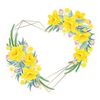 Bloemenkaderachtergrond met gele narcissenbloem
