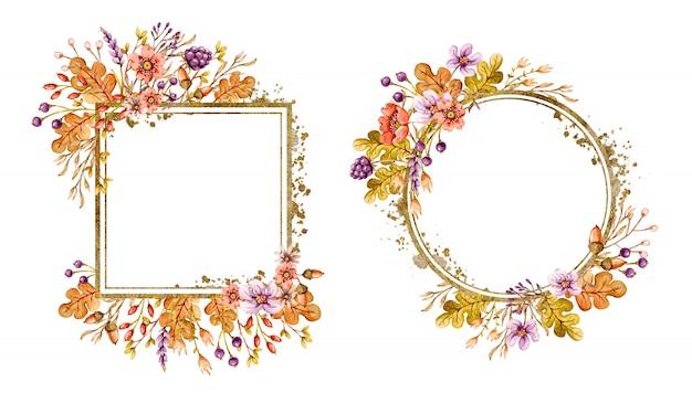 Bloemenkaders bezet met herfst eikenbladeren, eikels, bessen, bloemen en bloemenelementen in herfstkleuren.