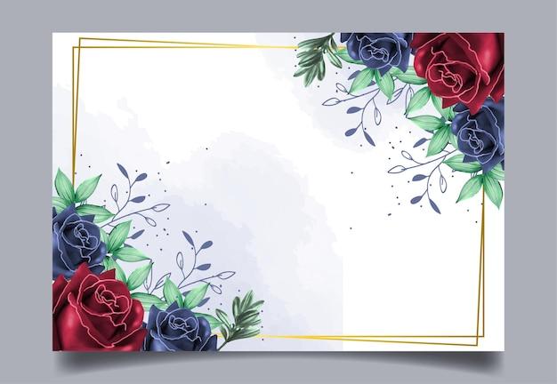 Bloemenkaderwaterverf met blauwe en rode rozen