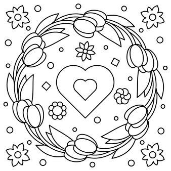 Bloemenkrans. kleurplaat. vector illustratie.