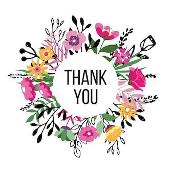 Bloemenkrans met bedankje, geïsoleerde woorden van dankbaarheid in bloemen en bladeren. lente of zomer bloeiend, seizoensgebonden bloesem en bloeiend. vintage rand of frame. vector in vlakke stijl