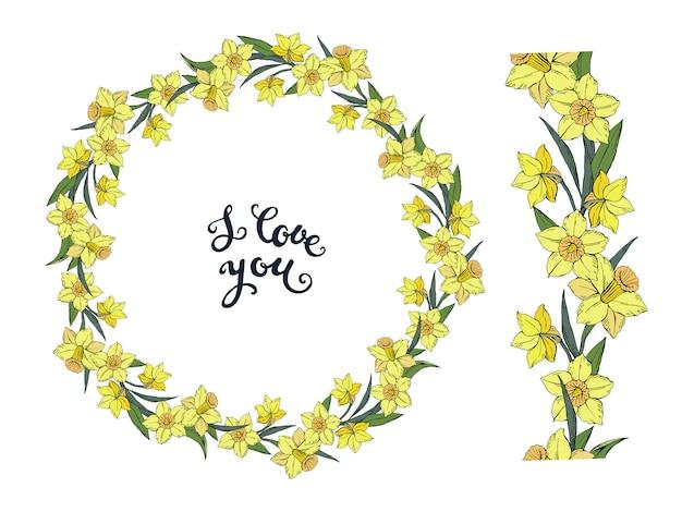 Bloemenkrans met gele narcissen en naadloze horizontale borstel met bloemen