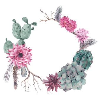 Bloemenkrans met takken en succulent
