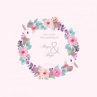 Bloemenkrans voor bruiloft uitnodiging