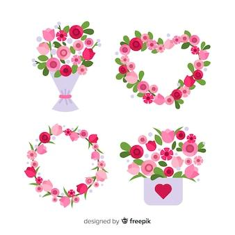 Bloemenkransen en boeketteninzameling voor valentijnskaartendag