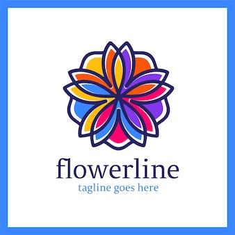 Bloemenlijnlogotype. koninklijk lotus-ornament