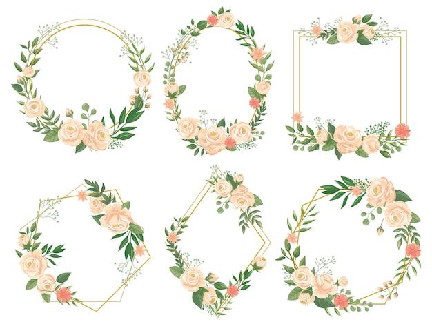 Bloemenlijst. bloem grenskaders, ronde bloei en decoratieve bruiloft bloemen vierkante kaart illustratie set