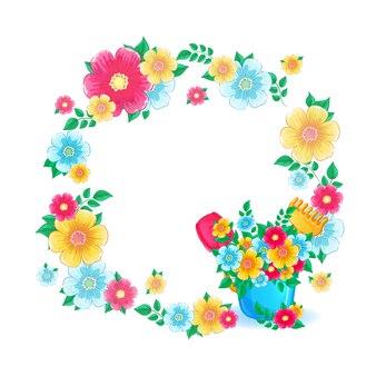 Bloemenlijst een krans van bloemen en een boeket in een plastic emmer.