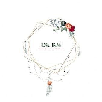 Bloemenlijst met gouden frame