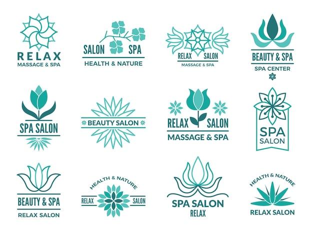 Bloemenlogotypes voor schoonheids- en kuuroordsalon. logo spa met bloemenbloem. illustratie