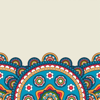 Bloemenmandala felgekleurde rand