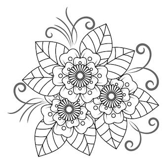 Bloemenmandala voor volwassenen die kleurboek ontspannen.