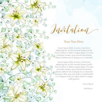 Bloemenontwerp bruiloft uitnodigingskaart