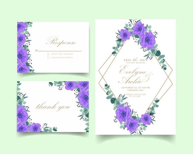 Bloemenontwerp van de de kaartmalplaatje van de huwelijksuitnodiging met purpere anemoonbloemen.