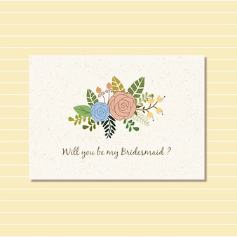 Bloemenontwerp voor de uitnodiging van de bruidkaart