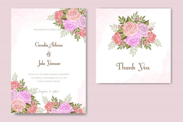 Bloemenontwerphuwelijksuitnodiging