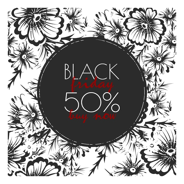 Bloemenontwerpsjabloon voor zwarte vrijdagverkoop