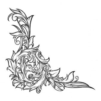 Bloemenornament barok voor grenskader en hoek.
