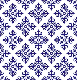 Bloemenornamentachtergrond islamitische stijl, naadloos blauw en wit ceramisch patroon, porselein
