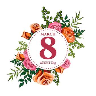 Bloemenornamentillustratie voor internationale vrouwendag