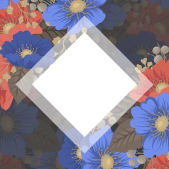 Bloemenpagina boarders - blauwe en rode bloemen