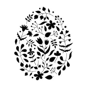 Bloemenpatronen in de vorm van een paasei.