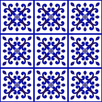 Bloemenpatroon blauw en wit