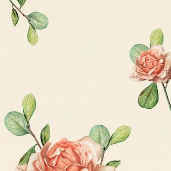 Bloemenpatroon op beige achtergrond vectorsjabloon